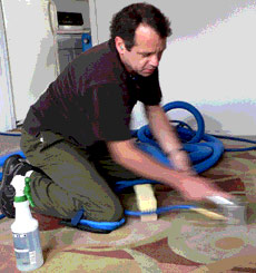 Harry Beck cleaning carpets